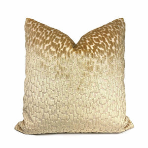Bellini Butterscotch Beige Large Velvet Dots Texture Pillow Cover