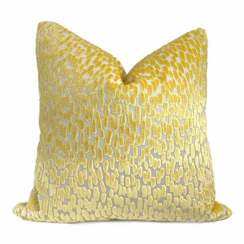 Bellini Canary Yellow Large Cut Velvet Dots Pillow Cover - Aloriam
