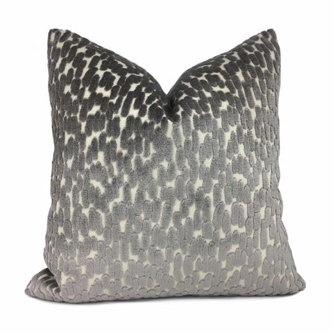 Bellini Dark Gray Large Velvet Dots Texture Pillow Cover