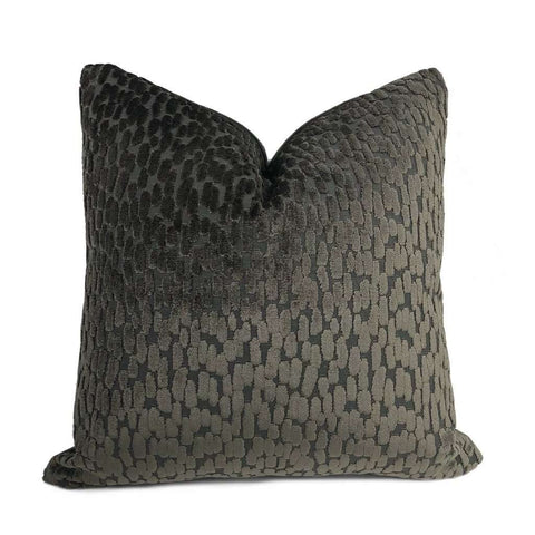 Bellini Graphite Gray Large Velvet Dots Texture Pillow Cover Cushion Pillow Case Euro Sham 16x16 18x18 20x20 22x22 24x24 26x26 28x28 Lumbar Pillow 12x18 12x20 12x24 14x20 16x26 by Aloriam