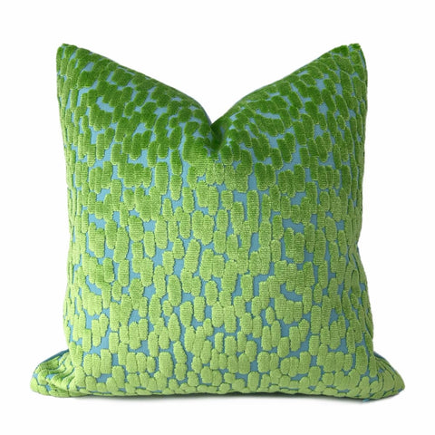 Bellini Lime Green Aqua Blue Cut Velvet Dots Pillow Cover - Aloriam