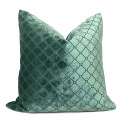 Berel Green Diamond Tile Velvet Pillow Cover Cushion Pillow Case Euro Sham 16x16 18x18 20x20 22x22 24x24 26x26 28x28 Lumbar Pillow 12x18 12x20 12x24 14x20 16x26 by Aloriam