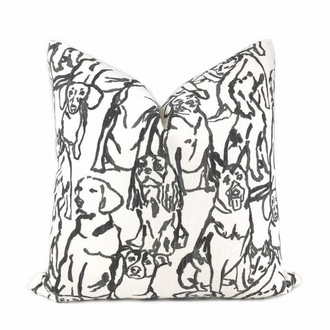 Best Friends Black & White Dogs Print Pillow Cover (Lacefield Designs fabric) - Aloriam