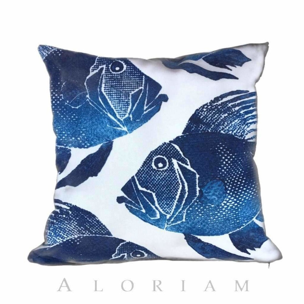 Big Blue Fishes Aquatic Ocean Theme Decorative Throw Pillow Cover Cushion Pillow Case Euro Sham 16x16 18x18 20x20 22x22 24x24 26x26 28x28 Lumbar Pillow 12x18 12x20 12x24 14x20 16x26 by Aloriam