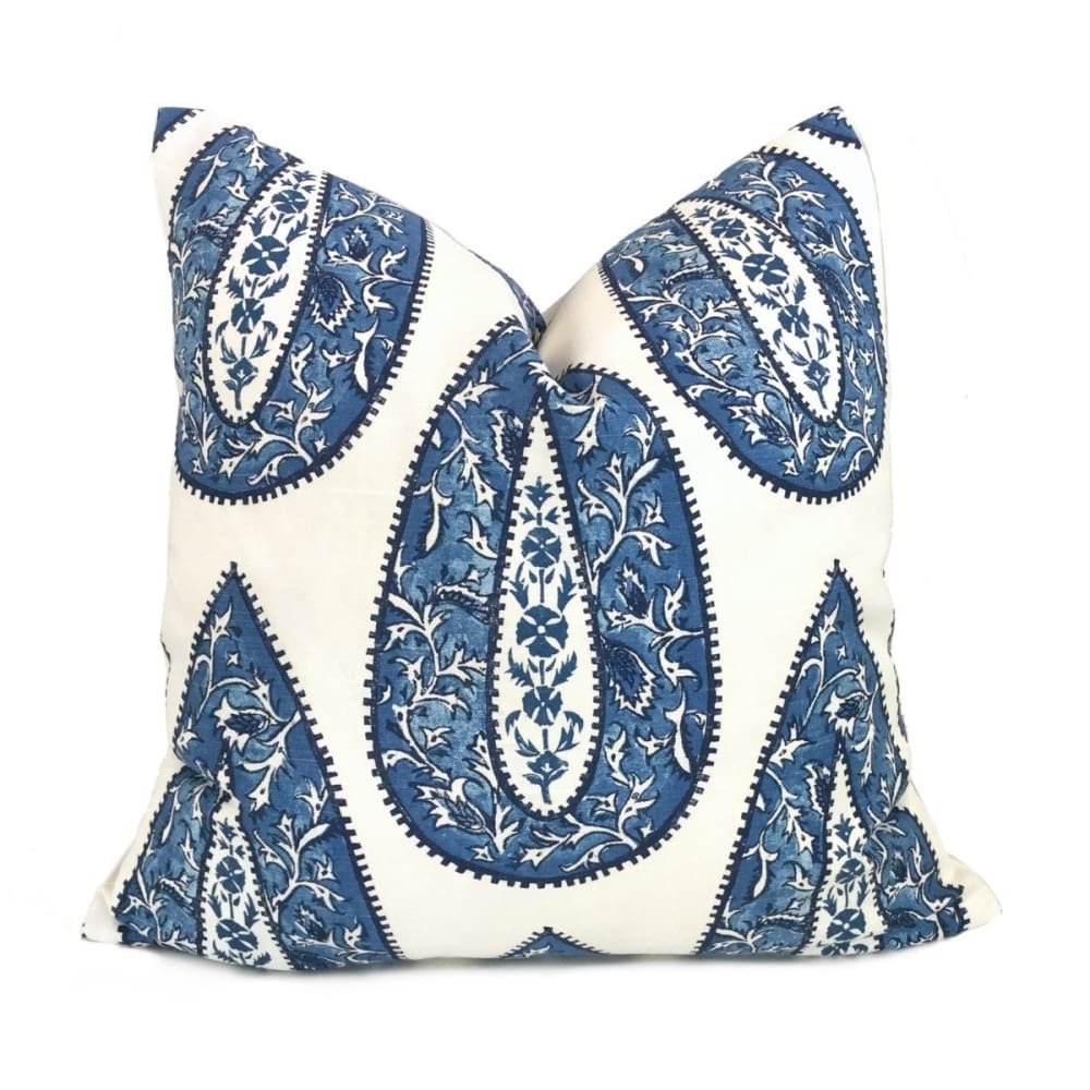 Bindi Blue Teardrop Paisley Motif Pillow Cover (Made from Lacefield Designs fabric) - Aloriam