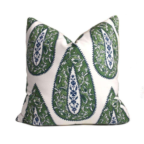 Bindi Kelly Green Teardrop Paisley Motif Pillow Cover (Made from Lacefield Designs fabric) Cushion Pillow Case Euro Sham 16x16 18x18 20x20 22x22 24x24 26x26 28x28 Lumbar Pillow 12x18 12x20 12x24 14x20 16x26 by Aloriam