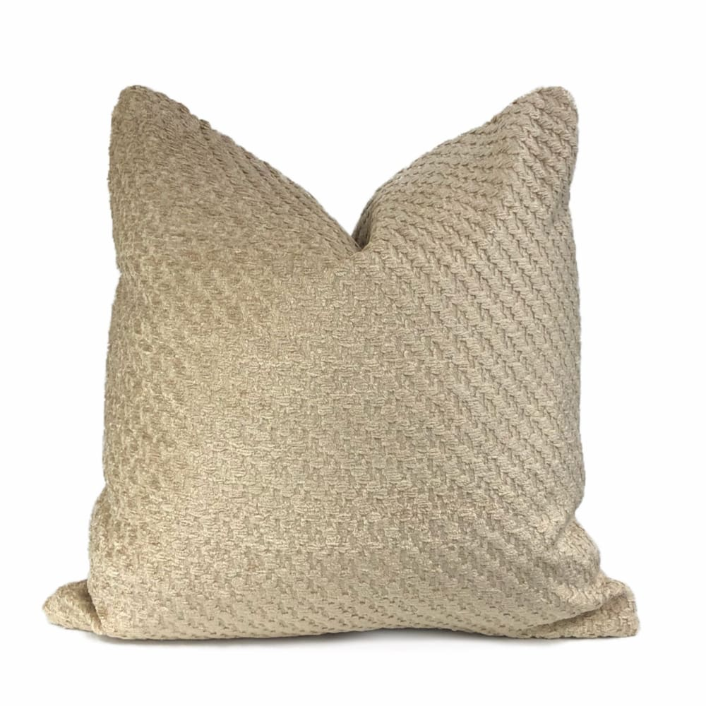 Bismarck Wheat Beige Soft Textured Chenille Pillow Cover - Aloriam