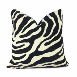Black Cream Large Zebra Stripe Pillow Cover