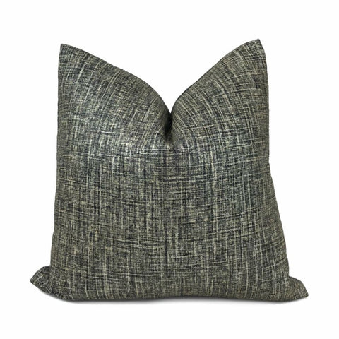 Black Metallic Glazed Linen Pillow Cover - Aloriam