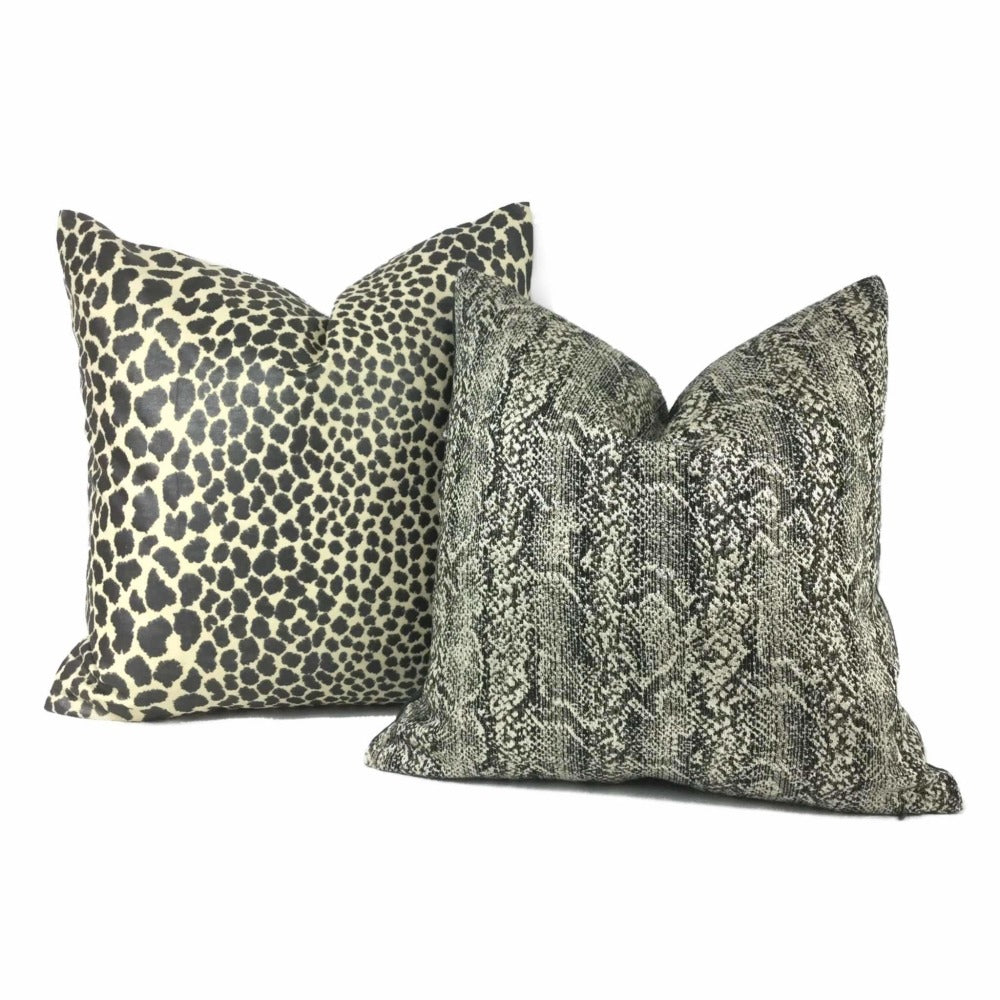 Black Pearl Beige Leopard Spot Cotton Print Pillow Cover
