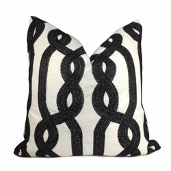 Black White Embroidered Twisted Braid Pillow Cover