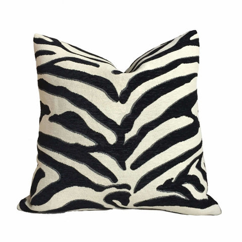 Black White Large Zebra Animal Stripe Chenille Upholstery Pillow Cover (CLEARANCE) Cushion Pillow Case Euro Sham 16x16 18x18 20x20 22x22 24x24 26x26 28x28 Lumbar Pillow 12x18 12x20 12x24 14x20 16x26 by Aloriam