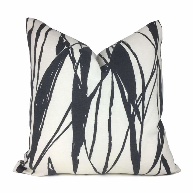 Black White Modern Lines Cotton Print Pillow Cover