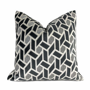 Bloomsbury Dark Gray Light Gray Geometric Tile Velvet Pillow Cover Cushion Pillow Case Euro Sham 16x16 18x18 20x20 22x22 24x24 26x26 28x28 Lumbar Pillow 12x18 12x20 12x24 14x20 16x26 by Aloriam