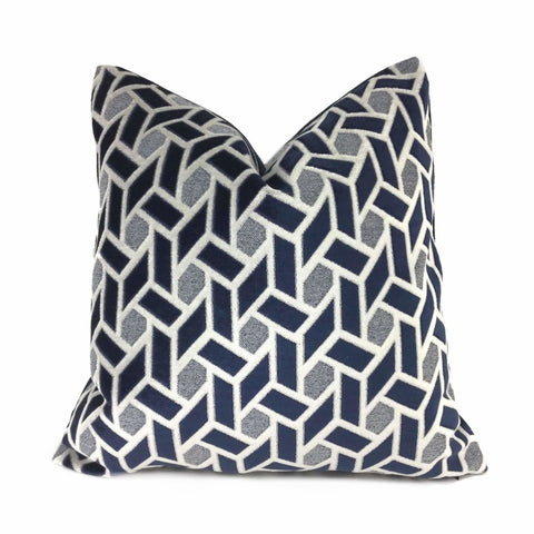 Navy Blue Light Gray Geometric Tile Velvet Pillow Cover