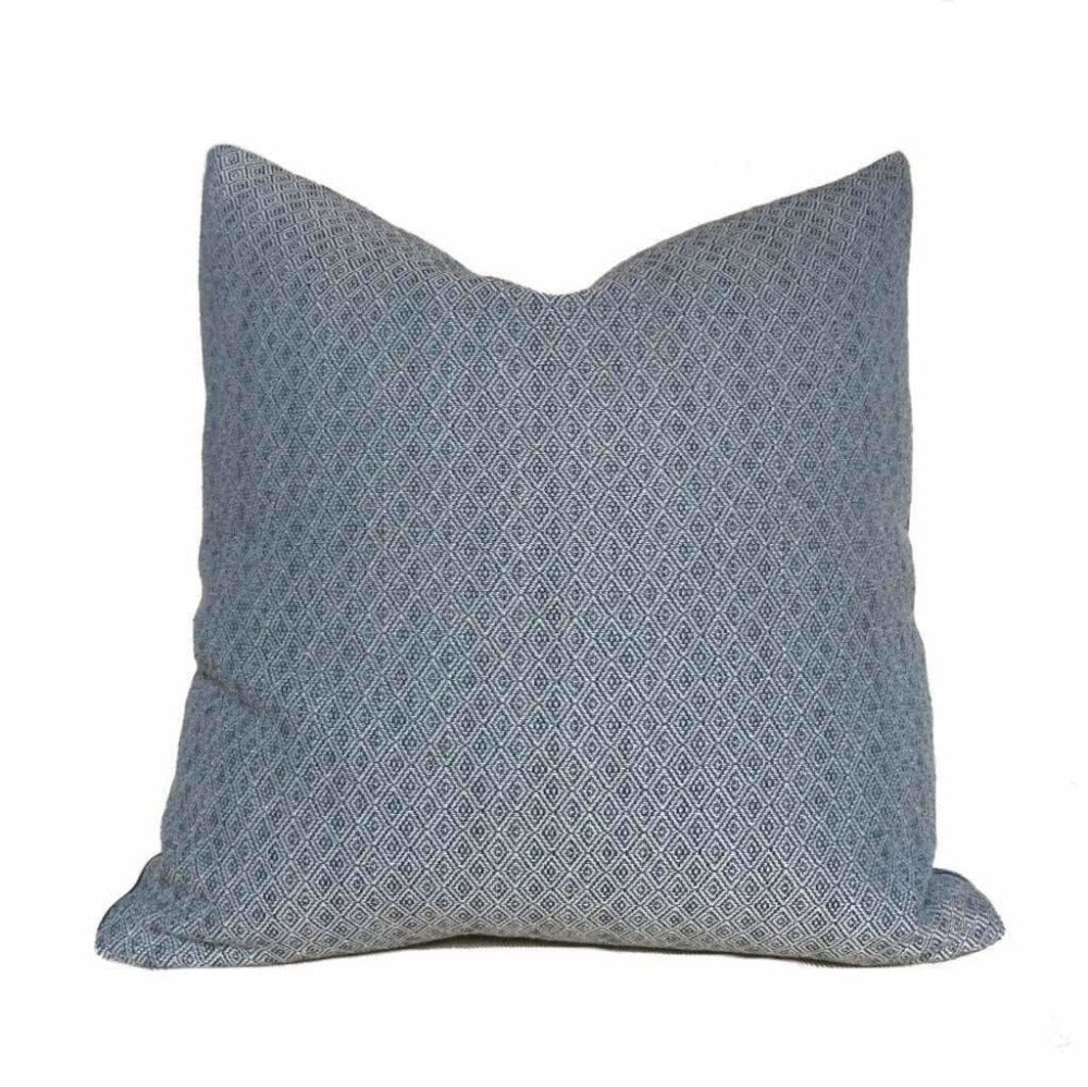 Blue Small Diamond Tile Geometric Lattice Pillow Cover