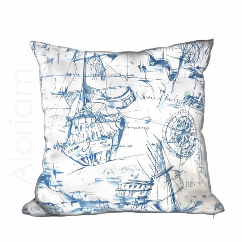 Blue White Sailing Sailboat Nautical Sketch Drawing Pillow Cushion Cover