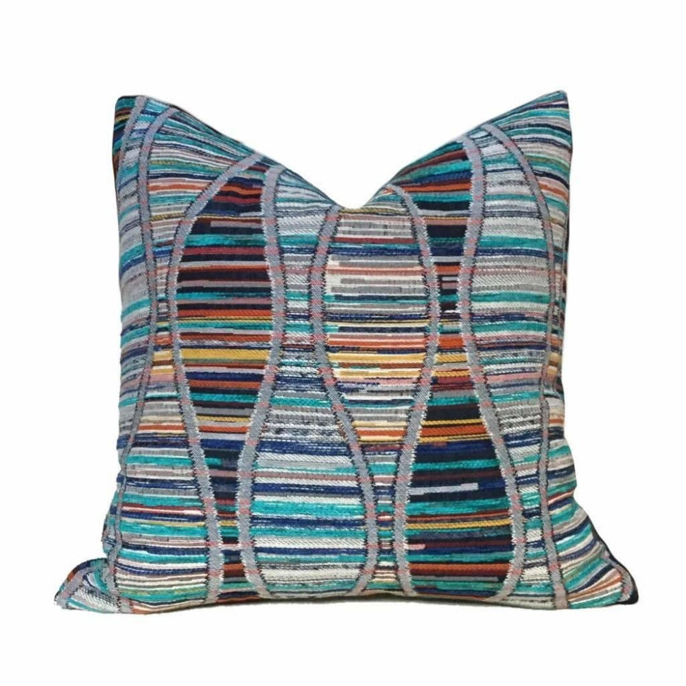 Bohemian Double Helix DNA Multicolor Texture Pillow Cover Cushion Pillow Case Euro Sham 16x16 18x18 20x20 22x22 24x24 26x26 28x28 Lumbar Pillow 12x18 12x20 12x24 14x20 16x26 by Aloriam