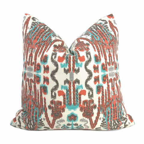 Lacefield Bombay Paprika Orange Aqua Cream Ikat Pillow Cover
