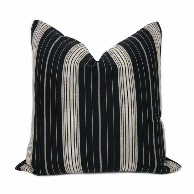 Bond Street Black Gray Taupe Pinstripe Pillow Cover
