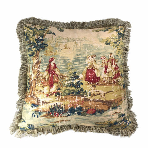 Bosporus Antique Red Old World Scenic Landscape Toile Pillow Cover with Fringe Trim - Aloriam
