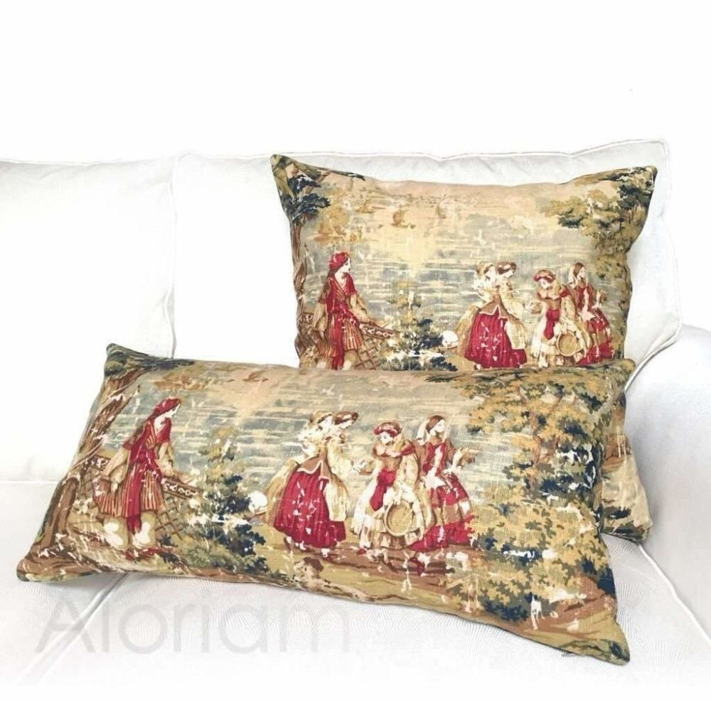 Bosporus Antique Vintage Old World Scenic Landscape Toile Linen Decorative Throw Pillow Cover Cushion Pillow Case Euro Sham 16x16 18x18 20x20 22x22 24x24 26x26 28x28 Lumbar Pillow 12x18 12x20 12x24 14x20 16x26 by Aloriam