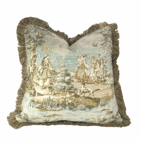 Bosporus Spa Blue Cream Old World Scenic Landscape Toile Pillow Cover with Brush Fringe Trim - Aloriam