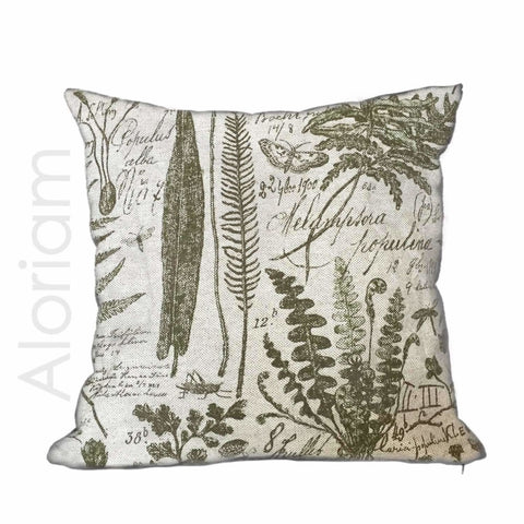 Botanical Botany Drawings Textbook Beige Green Toile Print Pillow Cover