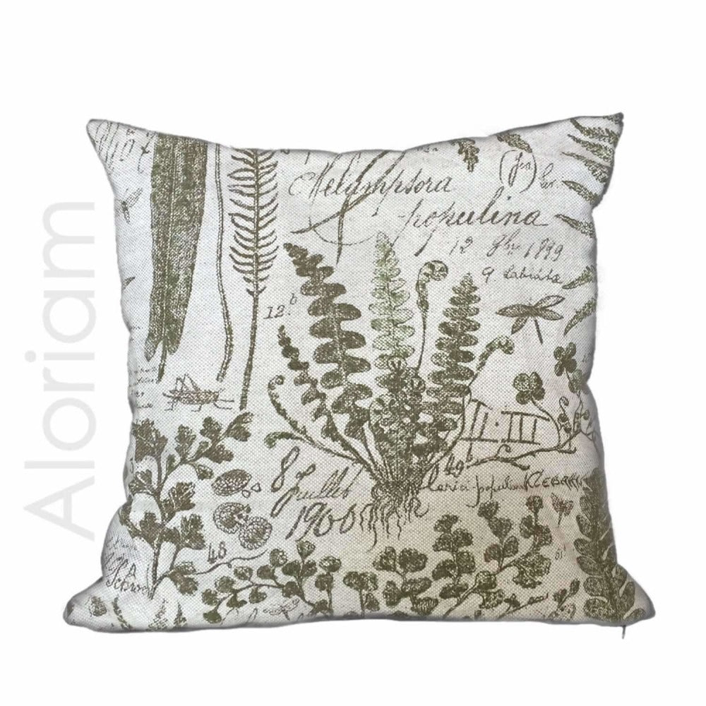 botanical botany drawings textbook beige green toile print pillow