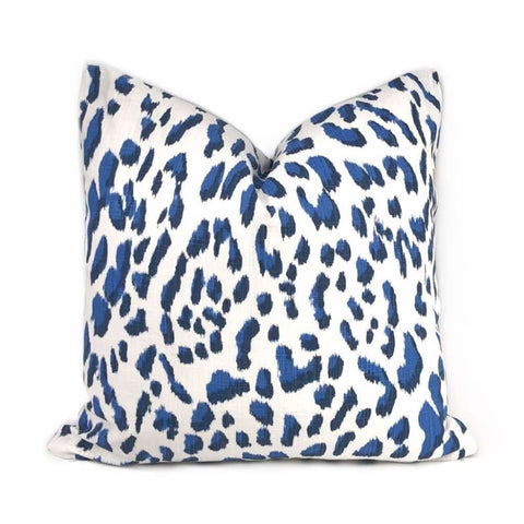 Brenner Blue & White Leopard Print Pillow Cover Cushion Pillow Case Euro Sham 16x16 18x18 20x20 22x22 24x24 26x26 28x28 Lumbar Pillow 12x18 12x20 12x24 14x20 16x26 by Aloriam