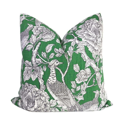 Bronwyn Green & White Birds Floral Print Pillow Cover
