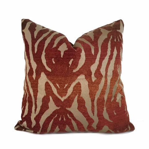 Bronze Brown Ombre Rust Tribal Tiger Animal Stripe Pillow Cover - Aloriam
