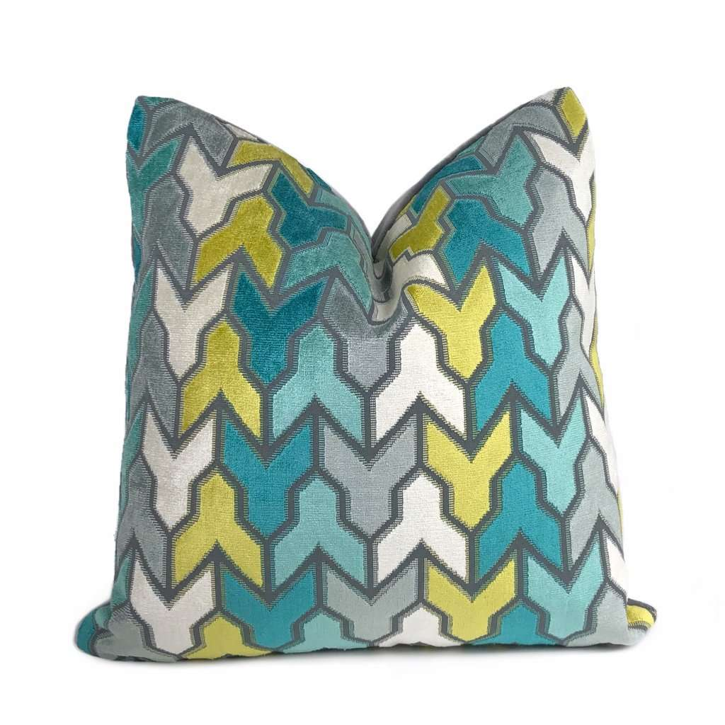Brookhaven Arrow Geometric Aqua Yellow Gray Velvet Pillow Cover Cushion Pillow Case Euro Sham 16x16 18x18 20x20 22x22 24x24 26x26 28x28 Lumbar Pillow 12x18 12x20 12x24 14x20 16x26 by Aloriam