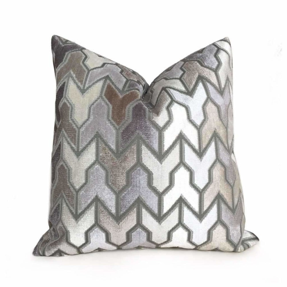Brookhaven Arrow Geometric Brown Taupe Gray Cream Velvet