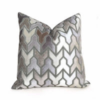 Designer Arrow Geometric Brown Beige Taupe Gray Cream Velvet Pillow Cover by Aloriam