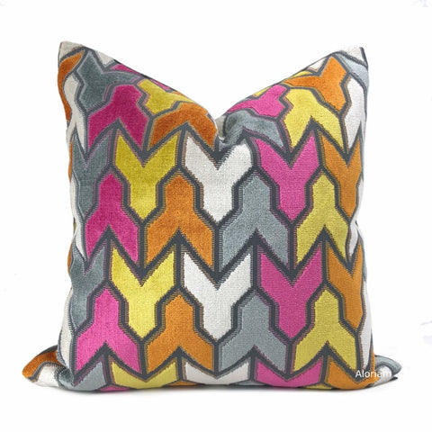 Brookhaven Arrow Geometric Pink Orange Yellow Gray Velvet Pillow Cover - Aloriam