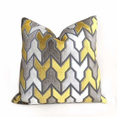 Designer Arrow Geometric Velvet Mustard Yellow Gray Cream Pillow Cover by Aloriam