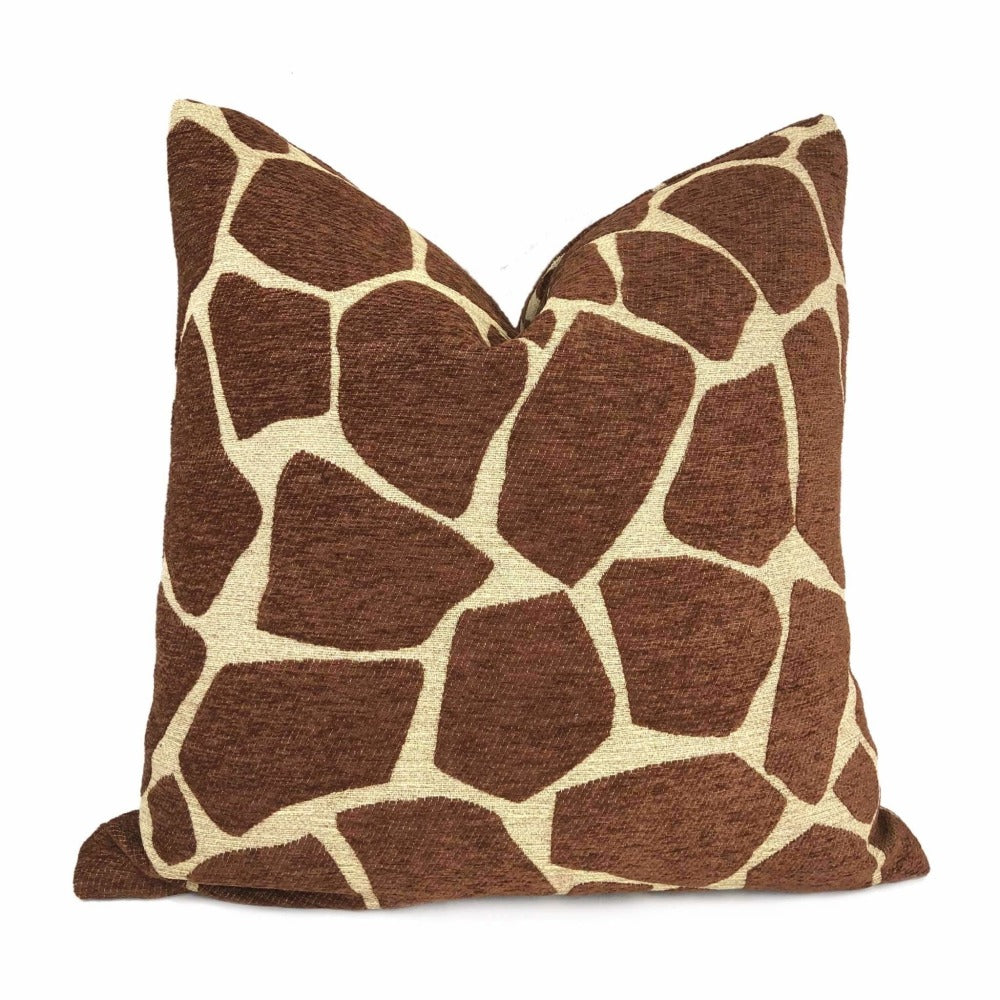 Brown Tan Giraffe Pattern Chenille Pillow Cover Cushion Pillow Case Euro Sham 16x16 18x18 20x20 22x22 24x24 26x26 28x28 Lumbar Pillow 12x18 12x20 12x24 14x20 16x26 by Aloriam