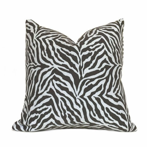 "Brown White Zebra Animal Stripe Pillow Cover, Fits 12x18, 12x24, 14x20, 16x26 16"" 18"" 20"" 22"" 24"" 26"" Cushion Inserts"