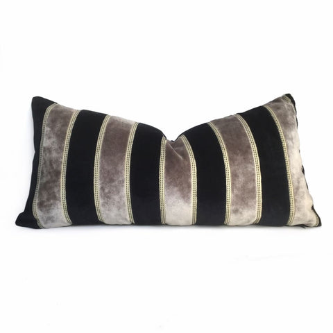 Bruges Gray and Black Velvet Stripe Pillow Cover - Aloriam