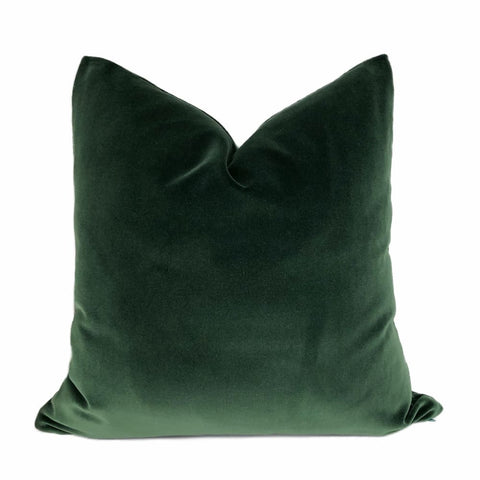 Brunswick Dark Green Cotton Velvet Pillow Cover - Aloriam