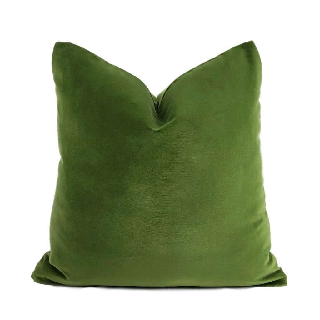 Brunswick Solid Green Cotton Velvet Pillow Cover Cushion Pillow Case Euro Sham 16x16 18x18 20x20 22x22 24x24 26x26 28x28 Lumbar Pillow 12x18 12x20 12x24 14x20 16x26 by Aloriam