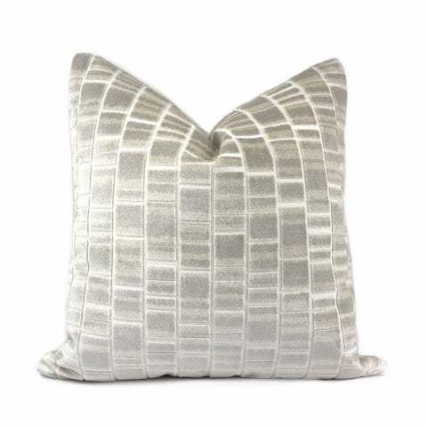 Caisson Gray Cream Velvet Blocks Pillow Cover - Aloriam