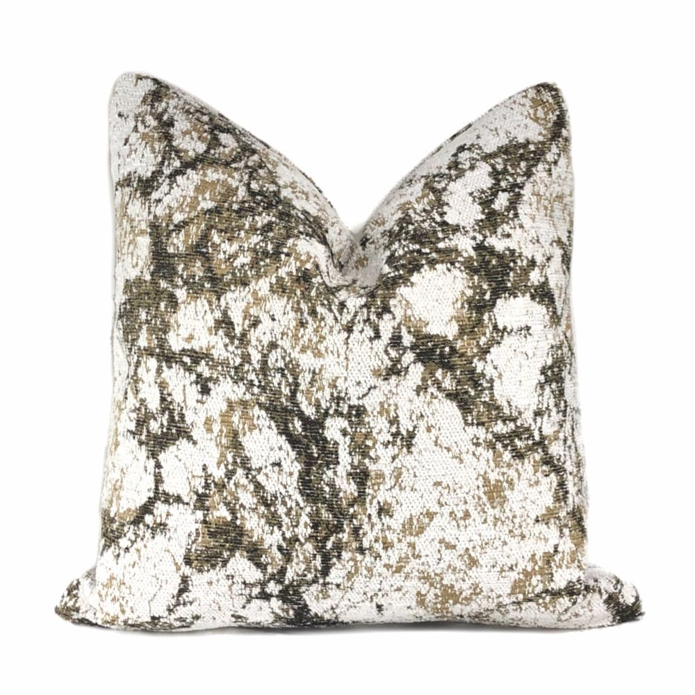 Calacatta Marble Brown White Chenille Pillow Cover - Aloriam