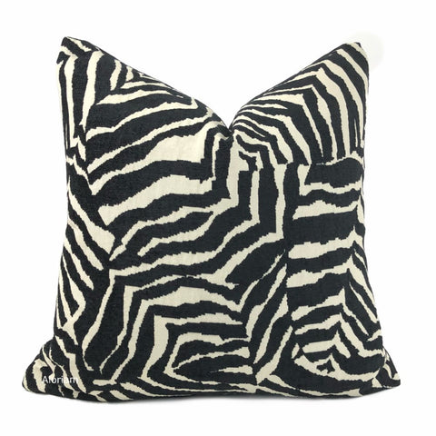 Caleb Black Cream Abstract Zebra Stripe Pillow Cover - Aloriam
