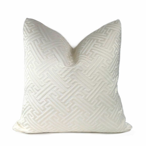 Callisto White Matelasse Greek Key Pillow Cover - Aloriam