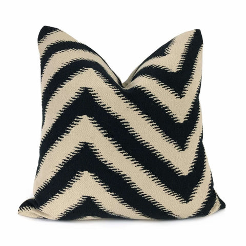 Camberwell Black Beige Serrated Chevron Pillow Cover