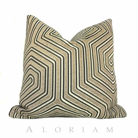 Camel Gold Geometric Maze Chenille Pillow Cushion Cover
