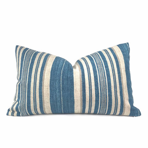 Cape Cod Blue Beige Stripe Cotton Print Pillow Cover - Aloriam