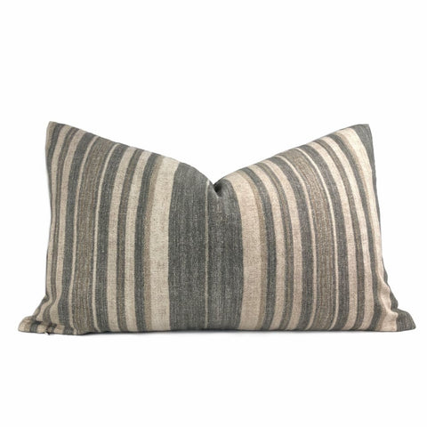 Cape Cod Brown Beige Stripe Cotton Print Pillow Cover - Aloriam